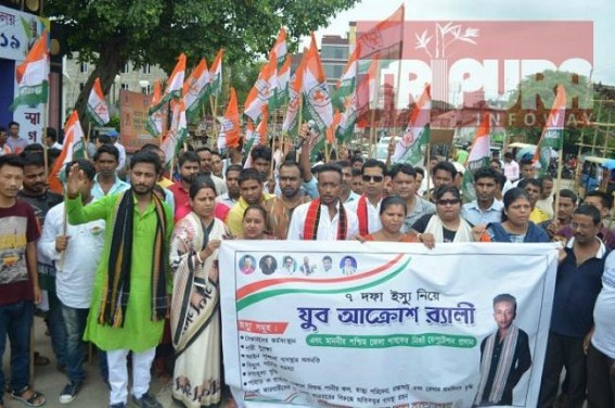 Tripura Congress protests against Unemployment, Law & Order problems in state