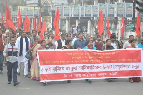 CPI-M held protest rally with 6 demands