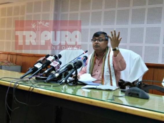Ratanlal Nath addressing media at Secretariat. TIWN Pic May 13