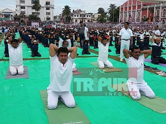 Tripura celebrates International Yoga Day 2019 at Agartala led by CM Biplab Deb. TIWN Pic June 21
