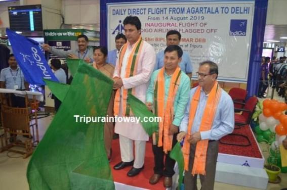 CM flags off Delhi-Agartala direct flight service
