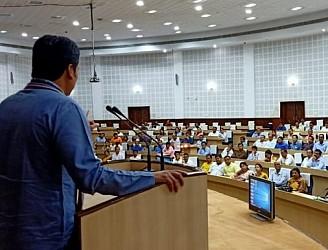 CM addressing at Pragna Bhawan. TIWN Pic Aug 22