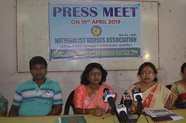 Nursing students held press meet. TIWN Pic April 19