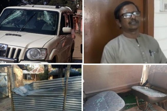 CPI-M former Tourism Minister Ratan Bhowmik attacked by BJP hooligans, vehicle broken, houses vandalized across Bagma, many injured