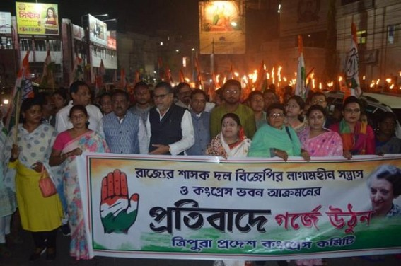 Congress Protests over Lawlessness in Tripura under BJP Govt