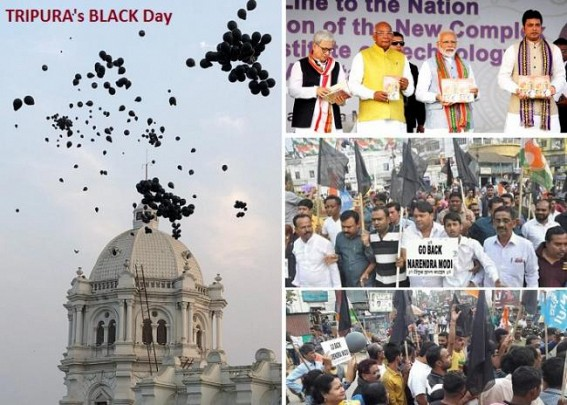Tripura's BLACK Day against JUMLA 'BATPAR's (Cheaters) as masses erupt with BLACK Flags : Modi's fear about Opposition-Alliance exposed in Northeast rallies, BLACK Baloons fly over Ujjayanta Palace