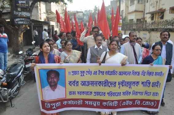 Leftists employees organization protests against Sukhu Gour murder