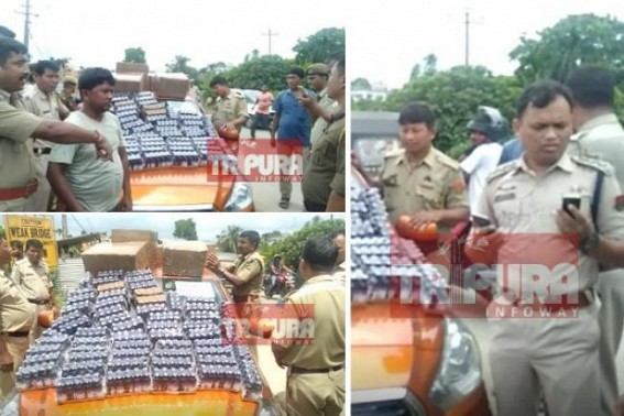 Ambassa Police scored major success, huge quantity Phensedyl bottles seized from car during regular patrolling, 1 arrested
