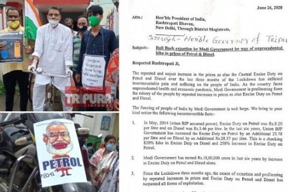 Congress's Protests across Tripura : Party wrote to President of India to roll back Fuel Prices