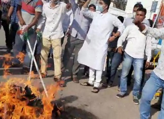 Youth Congress protested seeking CM Biplab Deb's resignation from as Health Minister