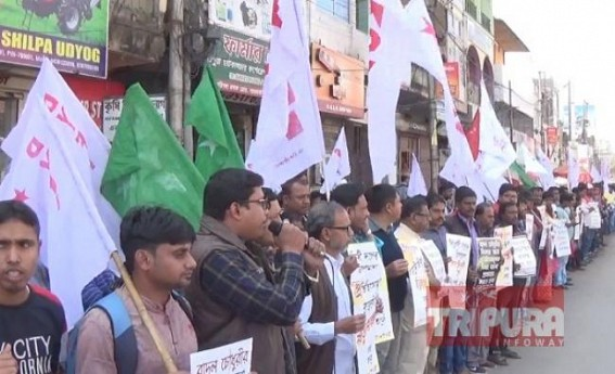 CPI-M's youth wings protested against fabricated charges against Ex-Minister Badal Chowdhury