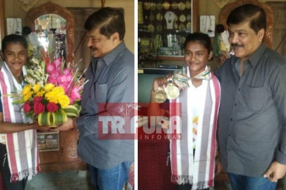 Sudip Roy Barman met Priyanka Dasgupta, the new rising gymnast star from Tripura