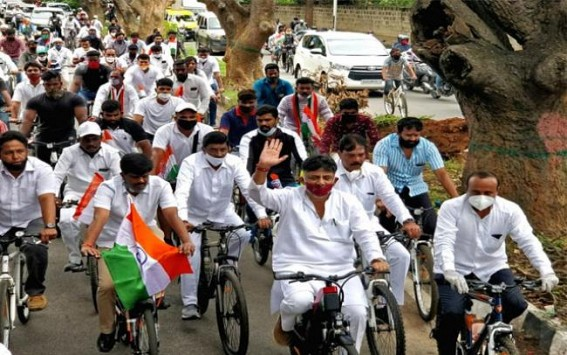 Cong holds cycle rally against fuel hike in Bengaluru