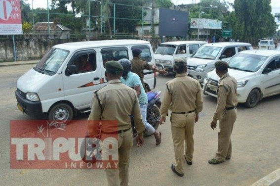 Tight Checking, Securities on Roads as Lockdown extended in Tripura : Long rows of vehicles in various areas as Police continue Checking