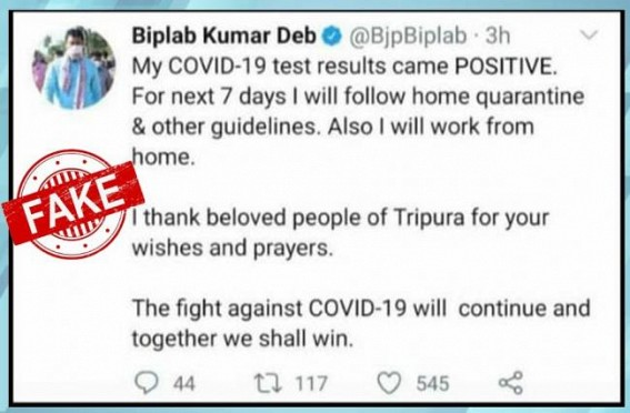 Edited Tweet spreads Fake News as 'Tripura CM tested COVID-Positive'