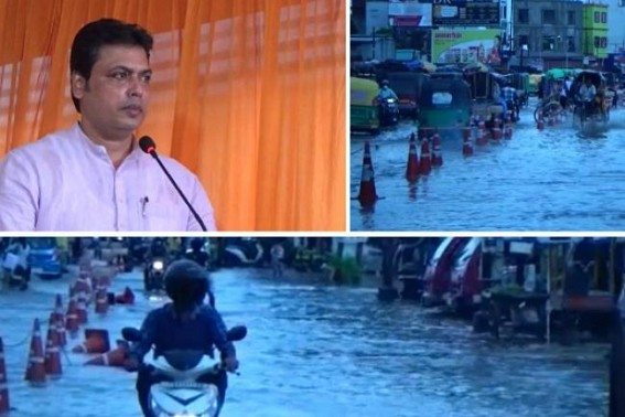 'Water-Logging problems of Agartala city Ended 90%', claims CM Biplab Deb amid massive public sufferings in rainy days