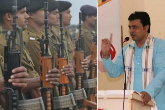 'History says, all employees in Police Dept were recruited from Communist Families in Tripura', claims CM Biplab Deb