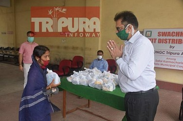 ONGC distributed safety kits among AMC Workers. TIWN Pic July 8