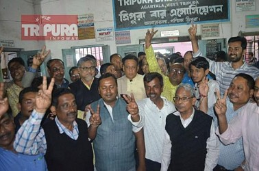 BJP lost Bar Association Election massively. Save Constitution forum celebrates Victory. TIWN Pic Feb 23