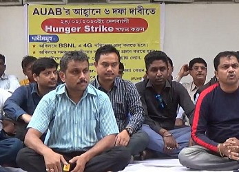 BSNL Employees began hunger strike demanding 4G spectrum. TIWN Pic Feb 24
