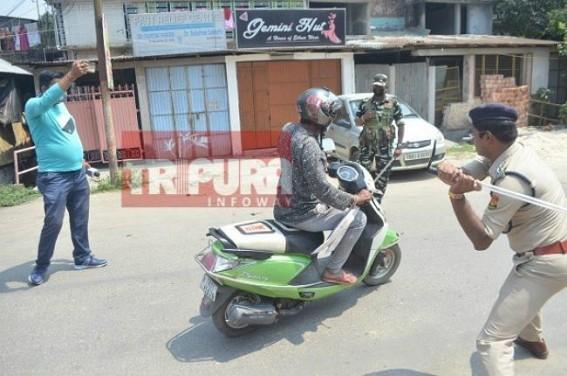 Coronavirus : Lathi-Charge on Lockdown violators in Tripura