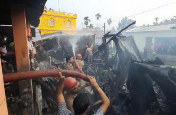 Massive Fire in Agartala Pratapgarh Market : 19 Shops Burnt, Chickens burnt Alive