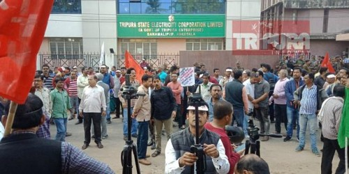 CPI-M staged protest before TSECL over privatized recruitment process's decision. TIWN Pic Jan 18