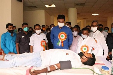 CM attended in a blood donation camp. TIWN Pic Sep 18