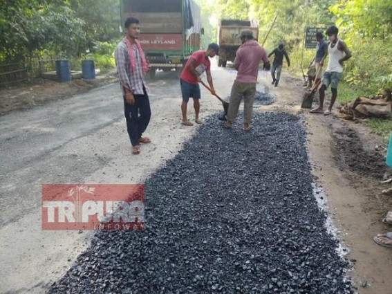 Brick-theft from National Highway in Tripura : Administration takes action after News Reports, road-repairing underway