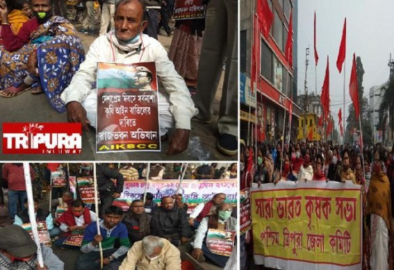 On Desh-Prem Diwas, Left wings along with Farmers marched to Raj Bhawan seeking Withdrawal of Anti-Farmers Law
