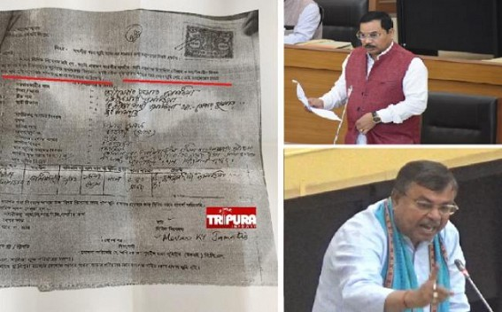 In Stamped Paper, Minister Mebar Jamatia Declared himself 'falsely' as 'Homeless', 'Landless', 'BPL' Category while seeking Land from SDM : But Ratanlal Nath claims 'No Scam'