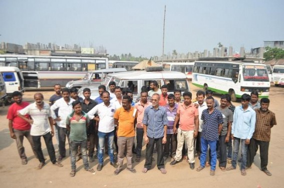 Bus drivers protesting in Nagerjala bus stand. TIWN Pic March 29