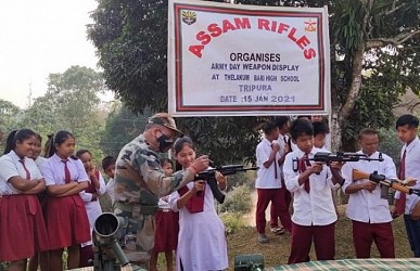 Assam Rifles organized weapons display and motivational lecture for school students. TIWN Pic Jan 15